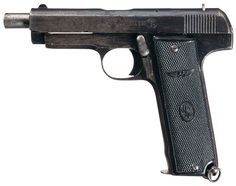 """Llama Plus Ultra High-Capacity 20 Shot Semi-Automatic Pistol. Manufactured circa 1928-1933, the Plus Ultra (Latin: """"Further Beyond"""", personal motto of Holy Roman Emperor Charles V) took the Llama hammerless pistol and upsized it with an extended barrel and a long, wide grip to accommodate a 20-round double stack magazine."""