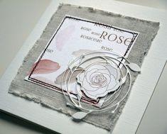 Ein Stück altes Leinen, kombiniert mit dem Designpapier Rosaceae.  Das Röschen findet ihr hier  und das Zweiggeflecht ist von poppystamps au...