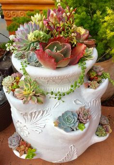 Colorful succulents in a painted strawberry planter.