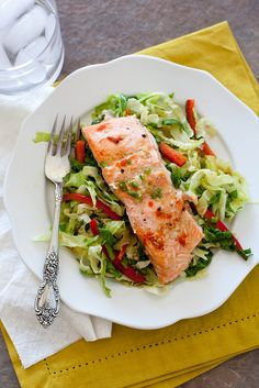 Ginger Garlic Salmon with Cabbage Salad | Annie's Eats