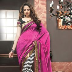 Pink and Off White Art Dupion Silk Saree with Blouse