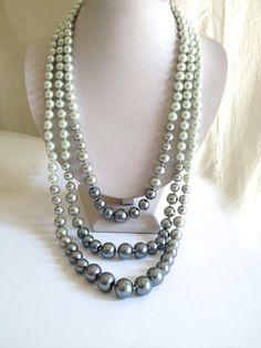 Ombre Silver  Multistrand Glass Pearl Necklace