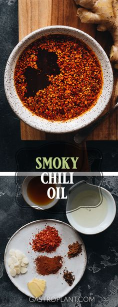 This smoky chili oil is complex nutty and spicy. Its very easy to make and tastes better than anything that comes in a jar. Use it to enhance practically any savory dish. Ramen Recipes, Delicious Vegan Recipes, Chili Recipes, Yummy Food, Tasty, Drink Recipes, Vegetarian Recipes, Potluck Recipes, Sauce Recipes
