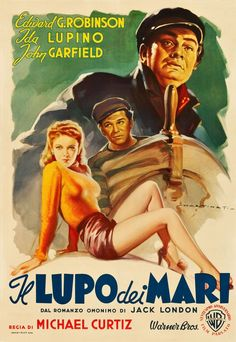 An Italian poster for Michael Curtiz's 1941 adventure film THE SEA WOLF.