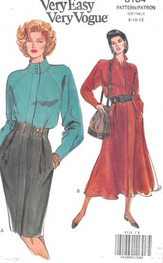 Dress, mid-knee or lower calf, has collar, shoulder pads, very lose-fitting, slightly blouson bodice with tucks, tapered or flared skirt with pleats, side pockets, concealed button closing and long sl