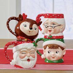 Christmas Mugs, Set Of Four - Grandin Road Christmas Mug Sets, Vintage Christmas, Christmas Holidays, Holly Christmas, Christmas Dishes, Christmas Ideas, Christmas Tablescapes, Christmas Decorations, Christmas Ornaments