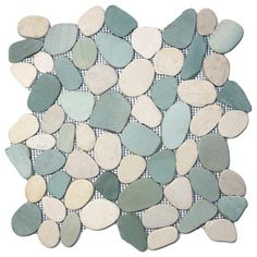Sliced Sea Green and White Pebble Tile - Beach Style - Tile - other metro - by Pebble Tile Shop