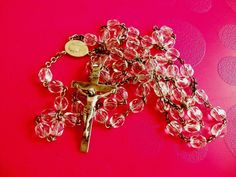 ST. VALENTINE'S SPECIAL! G K CRYSTAL & STERLING SILVER ROSARY GK  1940's-1950's