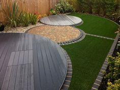 20 Trendy Ideas For Garden Patio Design Layout Circular Garden Design, Small Yard Design, Back Garden Design, Garden Design Plans, Patio Design, Modern Landscaping, Backyard Landscaping, Backyard Gazebo, Landscaping Ideas