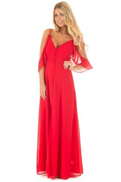 d8e41947dbe8 Lime Lush Boutique - Lipstick Red Chiffon V Neck Maxi Dress with Front  Slit
