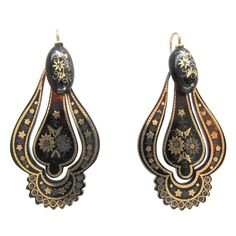 Victorian Tortoiseshell Silver Gold Pique Drop Earrings | From a unique collection of vintage drop earrings at https://www.1stdibs.com/jewelry/earrings/drop-earrings/