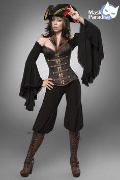 Piraten Kostüm Female Gothic Fasching Karneval Damen Verkleidung Halloween NEU