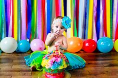 First birthday photo idea via Live Simply Get Crafty Facebook Page     streamer backdrop with balloons  IMG_3750, via Flickr.