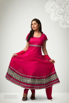 Pink Anarkali Suit with a big embroidered border. #IndianWear #Fashion
