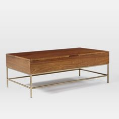 Storage Coffee Table - Walnut/Antique Brass