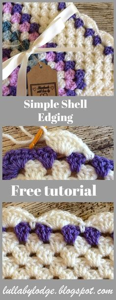 How to add a simple shell border to a granny square baby blanket - Crochet Tutorial - - Crochet tutorial - How to add a simple shell edging to a granny square baby blanket. Learn how with this easy crochet border pattern suitable for beginners. Crochet Edging Tutorial, Crochet Border Patterns, Crochet Blanket Border, Granny Square Crochet Pattern, Crochet Patterns For Beginners, Knitting Patterns, Afghan Patterns, Knitting Ideas, Easy Patterns