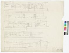 Robinson House, Elevations, Section / Architect: Marcel Breuer