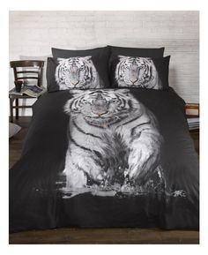 Polycotton Double Duvet Cover and Pillowcase Set featuring a stunning image of a white tiger.