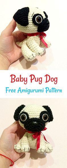 Free crochet baby pug dog pattern #crochet #amigurumi