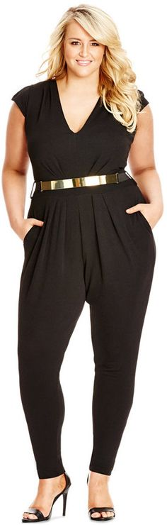 Plus Size V-Neck Belted Jumpsuit