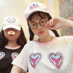 Kawaii Clothing Cute Harajuku Ropa T-Shirt Camiseta Hearts Mermaid Japan Sirena