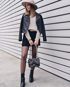 Moto + mini skirt.