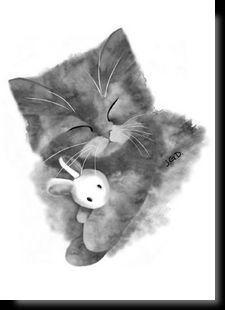 Cartes postales d'art félines Animal Sketches, Animal Drawings, Cat Drawing, Line Drawing, Kittens Cutest, Cats And Kittens, Cat Tattoo, Betty Boop, Cat Art