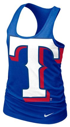 Texas Rangers Nike Tank Top - Rangers Womens Royal Racer Sleeveless Shirt