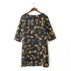 QZ1800 New Fashion Ladies' Elegant cute Keys print loose Dress Vintage O neck half sleeve casual brand dress plus size