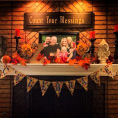 Fall Family Mantle Decore