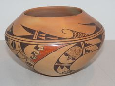 Signed Mae Mutz (1922-1998) Hopi Tewa Pottery Bowl Polychrome Native American