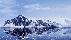 arctic mountains digital sketch