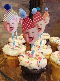 Easiest DIY cupcake toppers for a first birthday party ♥ . - Easiest DIY cupcake toppers for a first birthday party ♥ # simplest pa - Diy Cupcake, Cupcake Toppers, Photo Cake Toppers, Cupcake Decorating Party, Diy Cake Topper, Cupcake Picks, First Birthday Cakes, 1st Boy Birthday, First Birthday Parties