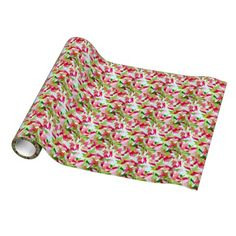 Pretty #Pink and green smudges gift wrapping paper