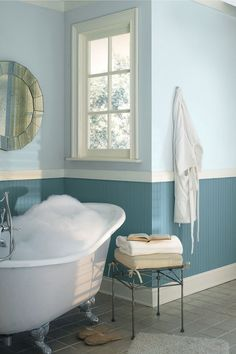 Interesting Ideas To Choose Paint For Bathroom Design Ideas With Sweet Bathroom Paint Colors Idea With Pale Blue Painted Wall On Top Mixed With Darker Pale Blue Wood Panel And White Touch On Window Frame