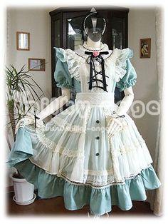 (ミルキーアンジェ) milky ange アンティーク アリス メイド ? XL アイシーブルー ミニ メイド服 コスプレ衣装