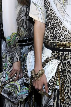 Mix & Match - Animal prints and glamour accessories in the #RobertoCavalli SS 2013 backstage!