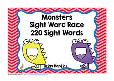 Monsters Sight Word Race is a board game where your students read a word and then roll one die (dice) and move that many spaces on the board. When students land on a monster it will chase you back to start. There are 20 fun cards that will tell your students to go again, go ahead 2 or 3 spaces, go back 2 or 3 spaces, trade spaces, lose a turn, or go back to start. Feel free to print multiple pages of the fun cards.