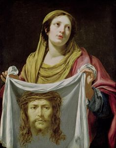 St. Veronica Holding The Holy Shroud Painting by Simon Vouet