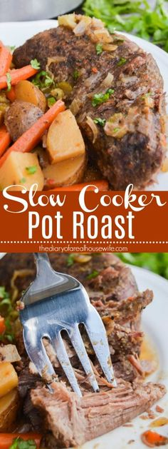 Slow Cooker Pot Roast - The Diary of a Real Housewife - Simple Slow Cooker Pot Roast Slow Cooker Roast Beef, Roast Beef Recipes, Crock Pot Slow Cooker, Slow Cooker Recipes, Crockpot Recipes, Easy Recipes, Slow Cook Pot Roast, Crock Pot Roast Beef, Top Recipes
