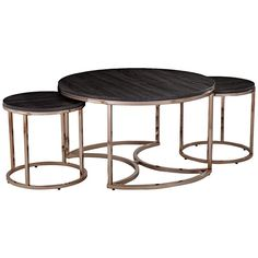 Update your space with the Lachlan Nesting Coffee Table. Round tabletops and sleek metal bases combine for an eclectic, glamorous look in this living room table set. Two side tables slide out from underneath for additional serving space.
