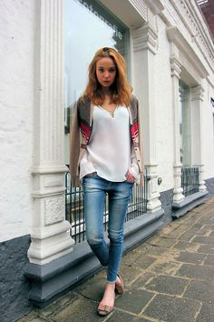 Shop this look on Kaleidoscope (sweater, blouse, jeans, flats)  http://kalei.do/WfC8cMG5ateqJSoS