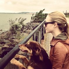 Amanda Seyfried and her Aussie, Finn.