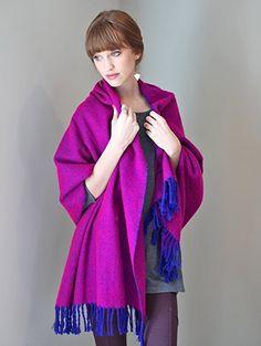 Anika Dali Chantal Blanket Scarf Shawl with Tassels (Royal Blue / Fuchsia Pink) at Amazon Women's Clothing store: