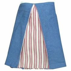 """Add cottage-chic charm to your master suite or guest room with this timeless cotton bed skirt, showcasing inverted pleat details, a red ticking motif, and denim accents.   Product: Bed skirtConstruction Material: CottonColor: Denim and redFeatures: Box pleat designDimensions: 18"""" DropCleaning and Care: Machine washable"""