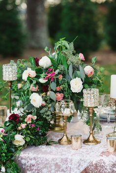 Vintage blush pink and fuchsia wedding