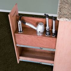 Amazon.com - Curling iron, Flat iron, and Hair dryer Holder Pullout System - Cabinet Pull Out Organizers