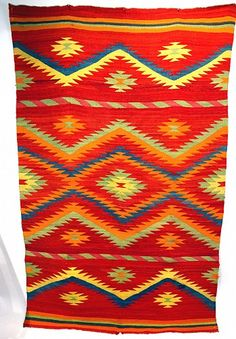 Many Colored Navajo Transitional Blanket 80
