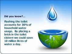 Flushing the toilet accounts for of household water usage. By placing a brick in the toilet cistern we could save 10 million litres of water a day! Water Poems, Safety Quotes, Ways To Save Water, Water Saving Devices, Sustainability Education, Rhyming Poems, Frozen Pipes, Handyman Projects, Campaign Slogans