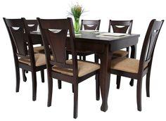 Equipa tu cocina con este cómodo y elegante Juego de comedor para 6 personas, modelo NELSON, Commodity, mesa rectangular de madera, sillas de madera, estilo contemporáneo.